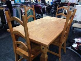 Pine dining table with 4 high back chairs
