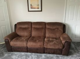 Chocolate and Tan faux suede reclining 3 seater sofa