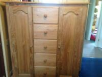 Chunky solid pine child's wardrobe