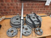 Olympic barbell 7ft, weight plates and weight tree - total 167.5 Kg