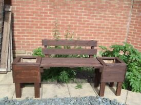 handmade wooded bench with two planters see pic £20