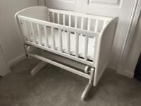 Lovely white glider baby crib and mamas and papas mattress