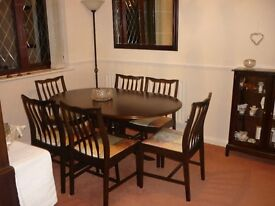 Dining Table, six chairs and dresser