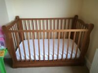 Baby cot bed / junior bed with drawer and mattress - used