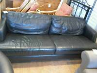 Mordern black leather 3 seater sofa