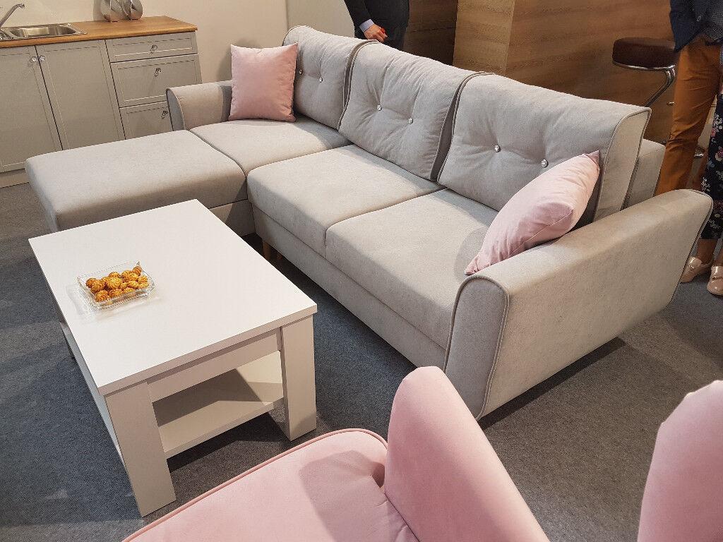OSLO New Brand Corner Sofa Bed >> Swarovski >> Storage >> Sleeping function >> Grey >> Delivery