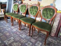 6 really nice reproduction hardwood dining chairs in green dralon