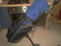 Spalding Golf bag and the Golfers Easiglide folding trolley cart VGC