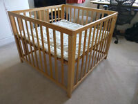 BabyDan multi height Baby Playpen in Beech. The perfect playpen for both baby and toddler.