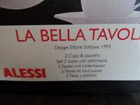 FOUR Alessi La Bella Tavola white cups and saucers