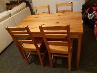 Ikea Jokkmokk Pine Dining Table with Four Chairs