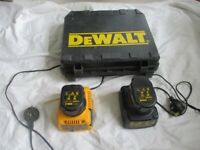 dewalt battery chargers x 2 with carrying case and batteries