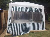 Gazebo 3x3m with green stripe curtains
