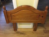Single bed pine varnished headboard