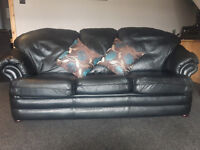 Black leather 3 and 2 seater sofa / settees - job lot £60