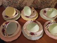 VINTAGE QUEEN ANNE HARLEQUIN CHINA TEA SET, EXCELLENT CONDITION
