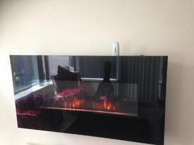 Black electric wall mounted fire