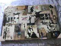 Large Banksy Collage Canvas New