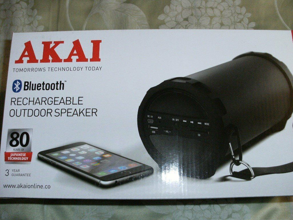 AKAI BLUETOOTH RECHARGEABLE OUTDOOR SPEAKER (Brand New & Boxed)