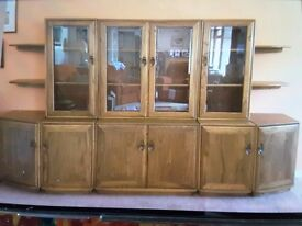 Ercol Windsor (Golden Dawn) display cabinets/sideboards - tops, bases and shelves, v good condition.