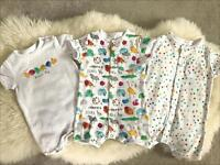 Next caterpillar rompers, very good condition 3-6 months