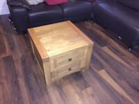 REDUCED: Oak coffee table with 3 drawers.