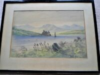 """Water Colour Painting of Castle on Lake Measures: 21"""" (w) x 15.5"""" (h)"""
