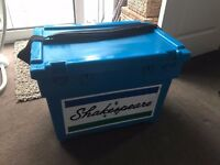 Shakespeare Match Fishing Seat Box with Padded Strap - Traditional Blue