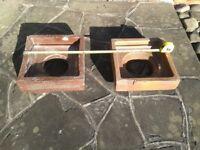 Two earthenware drain hoppers