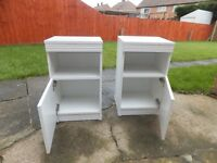 Two matching bedside cabinets - white - good condition