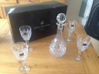 Royal Doulton Crystal Decanter and 4 Wine Glasses