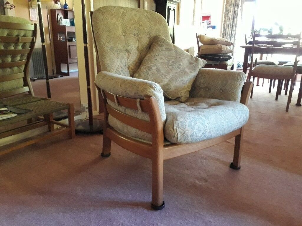 Ercol Saville Solid light elm high back 3 seater sofa. 2 armchairs and stool