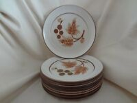"""8---DENBY COTSWOLD BROWN 10"""" DINNER PLATES"""