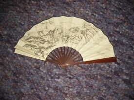 Large decorative Chinese fan and 2 picture frames
