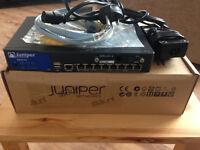 Juniper SRX210HE-w/ ADSL SRX-MP-1ADSL2-A POE Firewall/VPN/Router