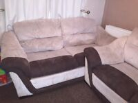 Large 3+2 seater cream and brown sofa with sofa bed