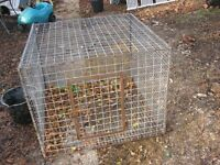 """anima l cage or chickens e.t.c. 36""""x37"""" 29"""" high galvanised steel with door £35 o.n.o."""