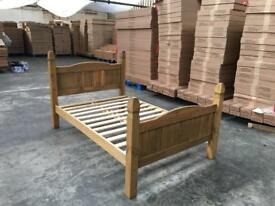 4FT Small Double Mexican Corana Style Salvador Solid Pine Bed Frame.