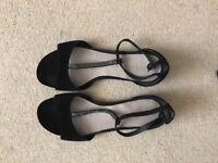 Leather black embellished M&S sandals, wide feet