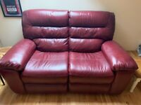 Burgundy Leather 3 and 2 Seat Recliner Sofas
