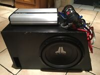500W JL Audio Subwoofer with 12W0 Series Subwoofer, JX500/1 Amplifier & 1.5 Farad Capacitor + Box