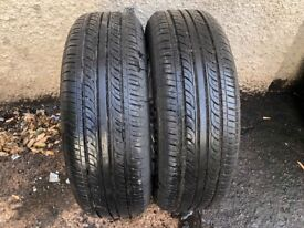 Pair Doublestar RC21 Used Tyres. 185/65r15 88H DOT CODE 4816 7mm Tread.