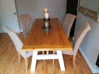 Bespoke Dining Table & 4 Button Back Chairs