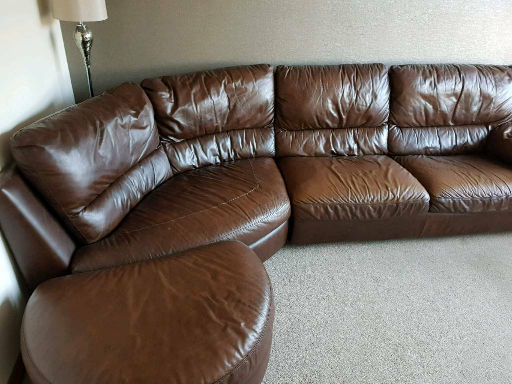 natuzzi brown leather corner sofa for sale in dunfermline fife gumtree. Black Bedroom Furniture Sets. Home Design Ideas