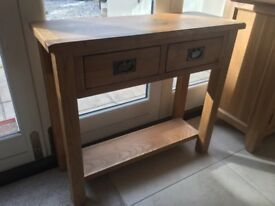 Solid oak hallway console table