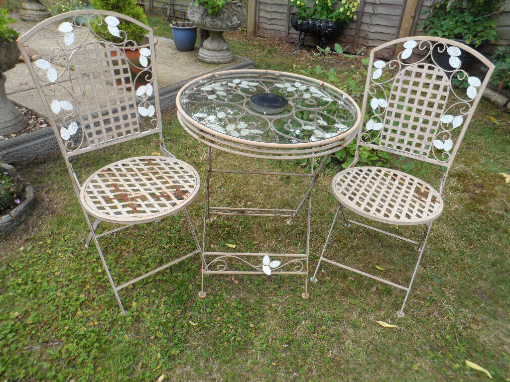 Garden Patio Bistro Metal And Glass Top Table With 2 Chairs Folding