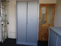"""Silverline"" Two Tone Tambour Tall Office Cupboard (Lockable)"