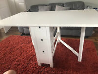 Ikea Fold Away Extendable Dining Table - White
