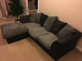 Jumbo Cord Right Corner Sofa- Charcoal