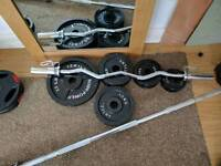 105kg Cast Iron Olympic Weights and EZ Curl Bar